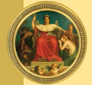Benjamin Ulmann (1829-1884): La Cour protège l'innocence et fait châtier le crime, 1868, Paris, Cour de Cassation. salle d'audience.