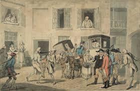 Frederick Georges Byron, Cour d'auberge à Calais, 1790, dessin aquarellé, Inv. MRF 1990-29