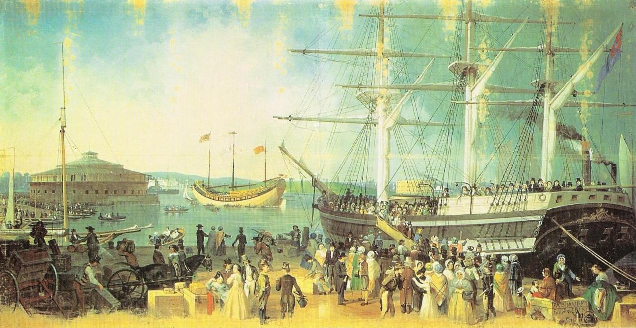peinture-huile-sur-toile-de-samuel-waugh-datant-de-1855-_-immigrants-la-plupart-irlandais-debarquant-dun-trois-ma%cc%82ts-a-the-battery-new-york-city-usa