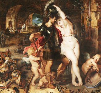 The Return from War: Mars Disarmed by Venus; Peter Paul Rubens (Flemish, 1577 - 1640), and Jan Brueghel the Elder (Flemish, 1568 - 1625); about 1610 - 1612; Oil on panel; 127.3 × 163.5 cm (50 1/8 × 64 3/8 in.); 2000.68